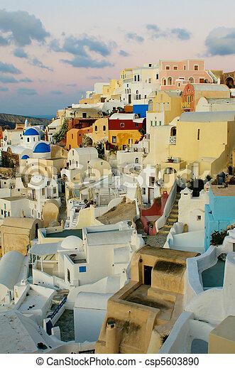 Oia village at Santorini island, Greece - csp5603890