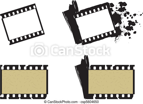 Set of photographic film frames, plain and grunge style - csp5604650