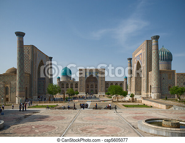 Minarets of Registan, Samarkand, Uzbekistan - csp5605077