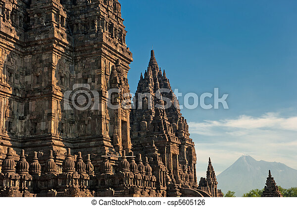Prambanan temple with Merapi volcano, Java, Indonesia - csp5605126