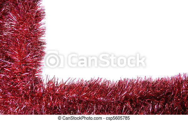 Red Christmas garland in a frame layout - csp5605785