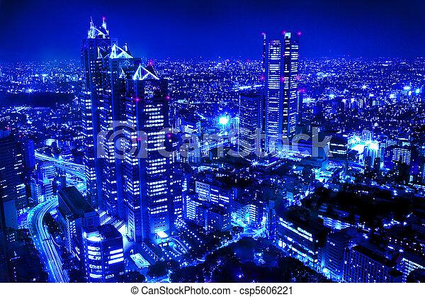 cidade, cena, noturna - csp5606221