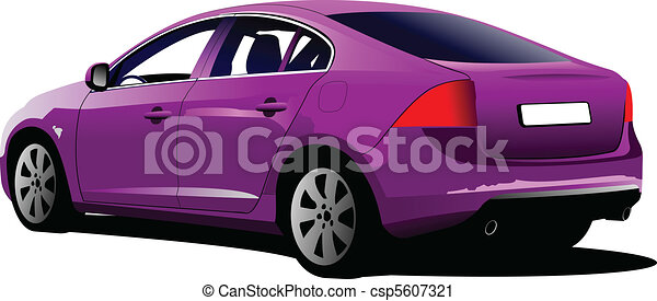 colored car sedan on the road. Vect - csp5607321