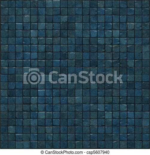 large 3d render of a smooth blue stone mosaic wall floor - csp5607940