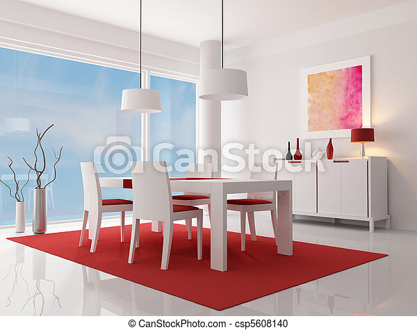 contemporary dining room - csp5608140