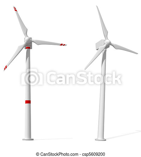 two wind turbines on white background - csp5609200