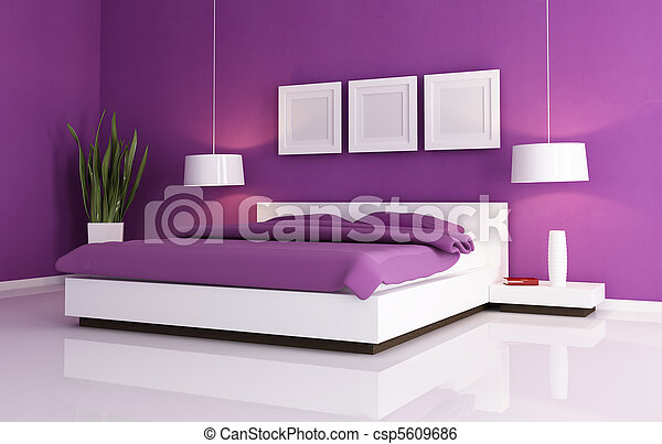 Image De Pourpre Blanc Chambre Coucher Minimal Pourpre Csp5609686 Recherchez Des