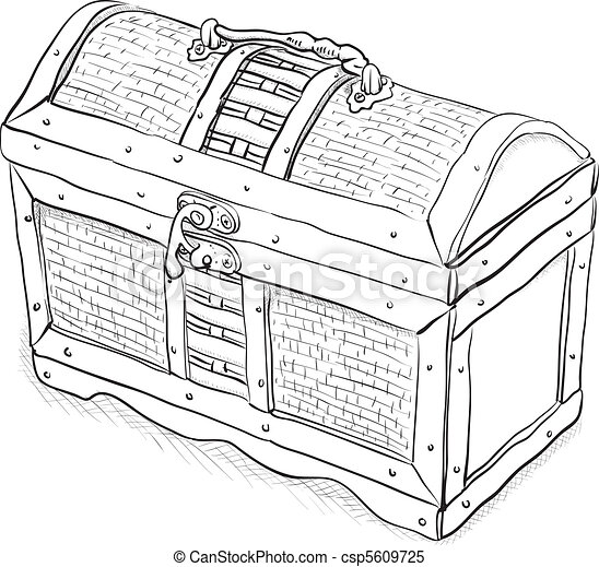Wooden pirate chest - vector - csp5609725