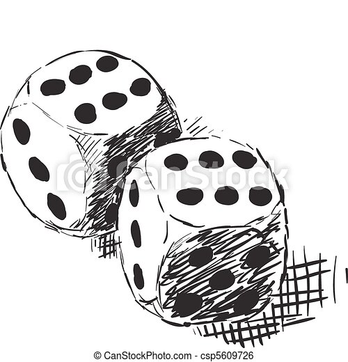 Rough monochrome sketch - two dices - csp5609726