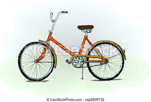 Old-fashioned bicycle - vector - csp5609732