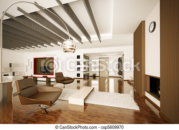 Modern apartment interior 3d render - csp5609970