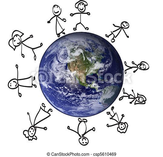 Globe, children, illustration, rainbow - csp5610469