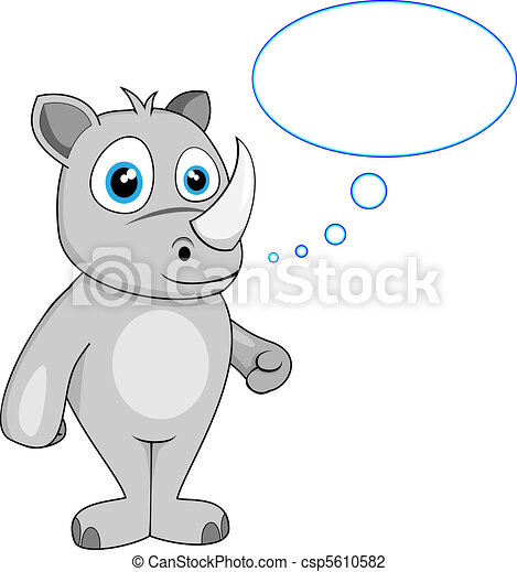 cute rhino in thought - csp5610582