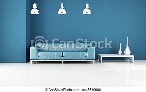 image de bleu salon moderne bleu moderne cuir divan. Black Bedroom Furniture Sets. Home Design Ideas