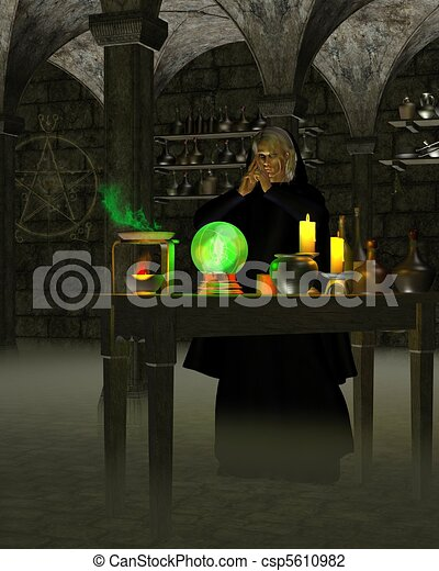 Alchemist or Wizard in Laboratory - csp5610982