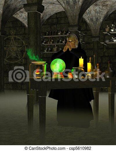 Alchemist or Wizard in Laboratory - csp5610982