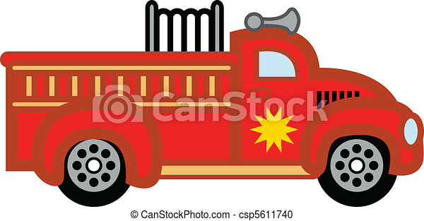 Firetruck child's toy fire engine. - csp5611740