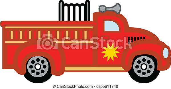 Firetruck child's toy fire engine. - csp5611740
