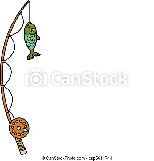 Fishing pole and reel with fish - csp5611744