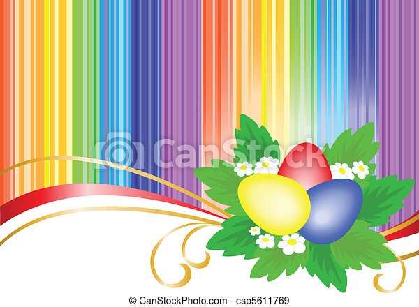 three Easter eggs in bright stripes - csp5611769