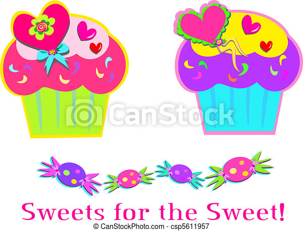 Sweet Cupcakes and Candy - csp5611957