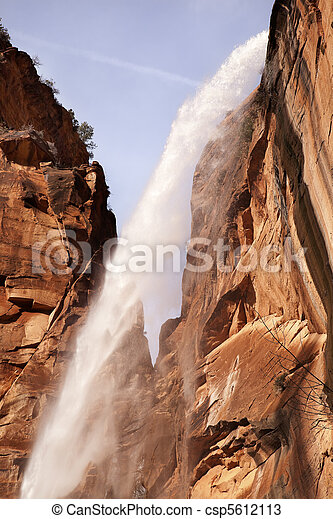 Weeping Rock Waterfall Red Rock Wall Zion Canyon National Park Utah Southwest  - csp5612113