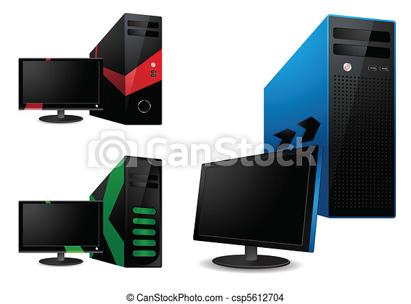 Computer and lcd monitor - vector - csp5612704