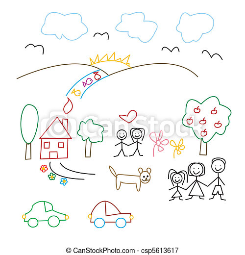Children's drawing - seamless patte - csp5613617