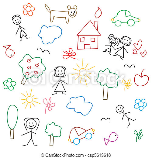 Children's drawing - seamless patte - csp5613618