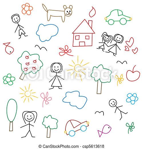 Children's drawing - seamless patte - csp5613618