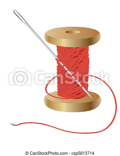 coil with a red thread and needle - csp5613714