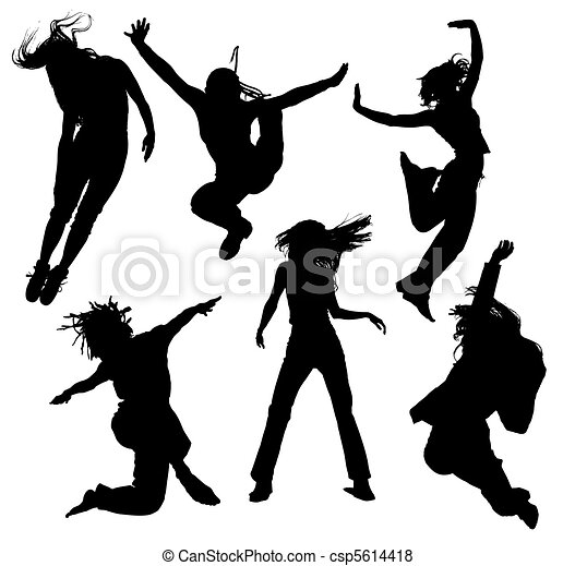 dancing people silhouettes - csp5614418