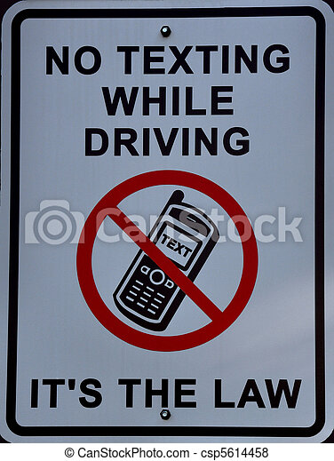 No texting while driving, its the law sign - csp5614458