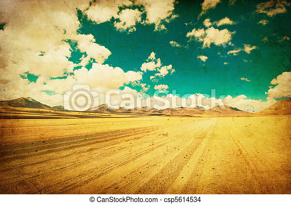 grunge image of desert road - csp5614534