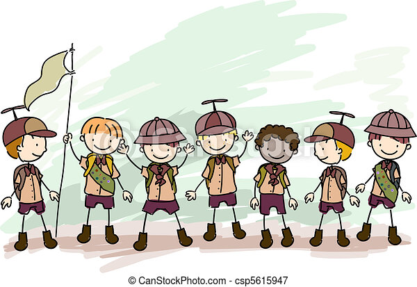 niño, Exploradores, garabato - csp5615947