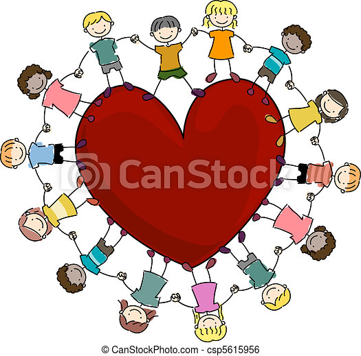 Kids Surrounding a Heart - csp5615956