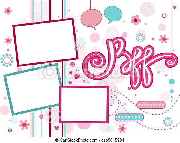 Dessin de cadre, bff - Illustration, de, a, cadre, caractériser, les ...