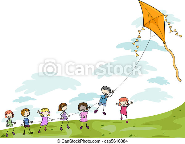 Kids Playing with a Kite - csp5616084