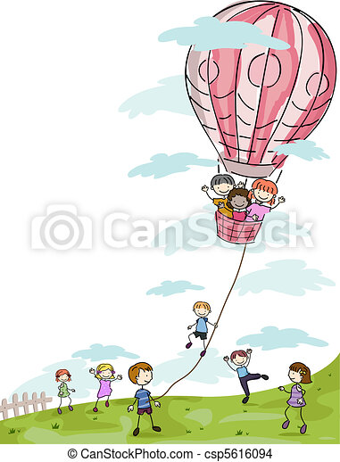 Kids Playing with a Hot Air Balloon - csp5616094