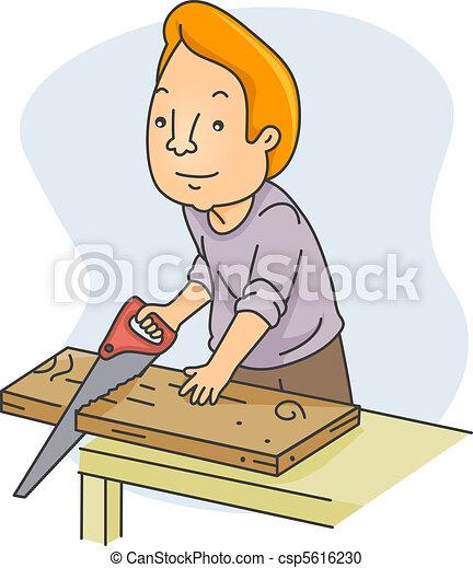 Stock Illustration of Man Sawing Wood