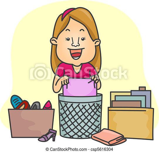 Girl Organizing Her Things - csp5616304