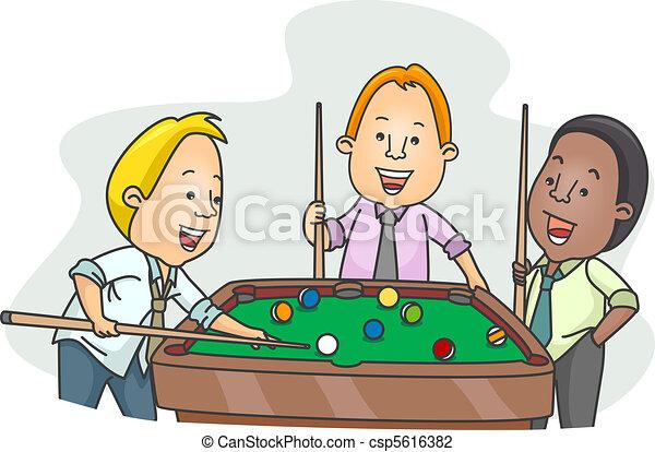 Men Playing Billiards After Work - csp5616382