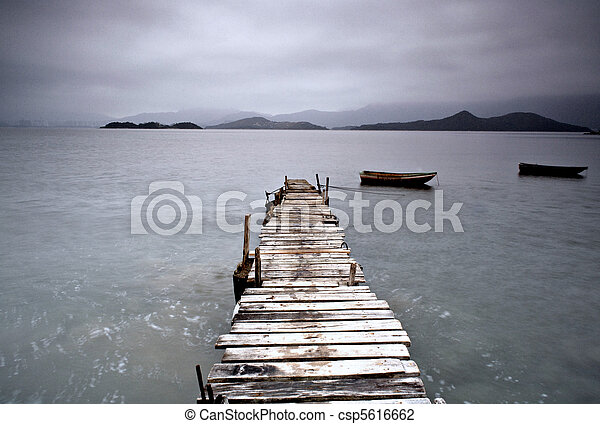 pier and boat, low saturation - csp5616662