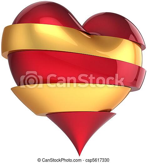 Broken heart sliced red and golden - csp5617330