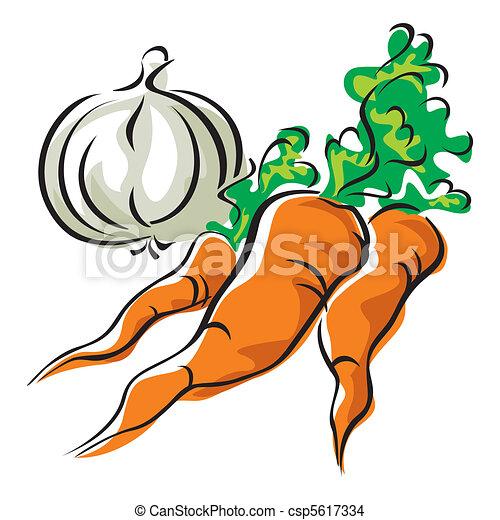 矢量, 形象, 三, 胡萝卜, 大蒜