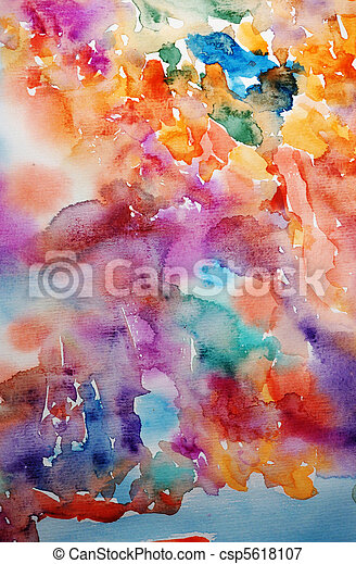 Watercolor bright hand painted art background for scrapbooking - csp5618107