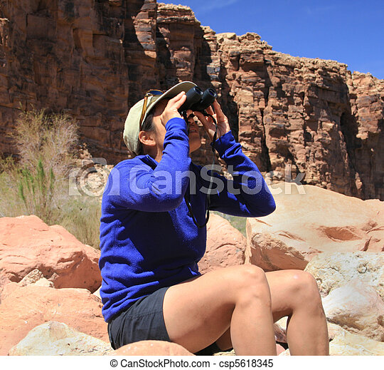 birdwatching woman - csp5618345