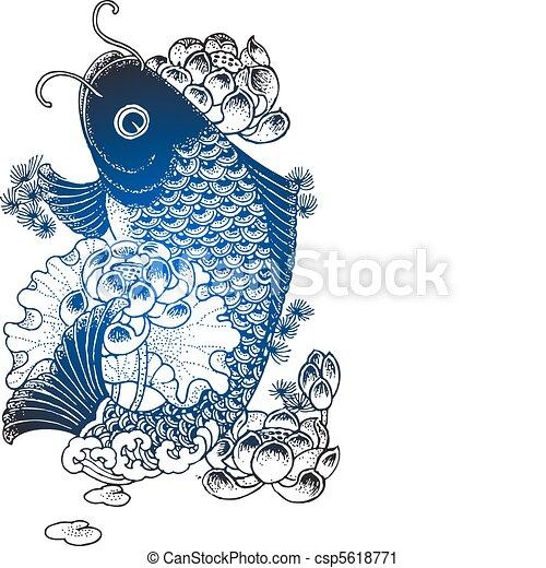koi fish illustration  - csp5618771