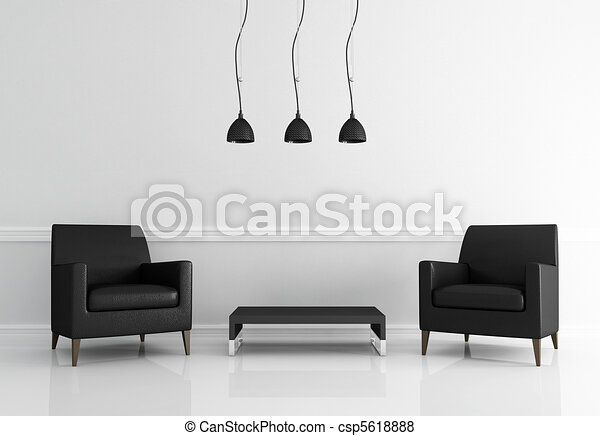 minimal black and white living room - csp5618888
