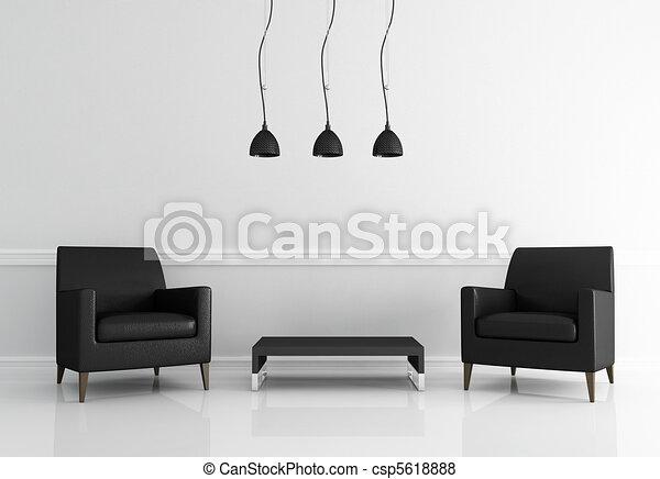 minimal black and white living room - csp5618888